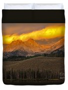 Glowing Sawtooth Mountains Duvet Cover by Robert Bales