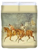 Going Out In A Snowstorm Duvet Cover by Henry Thomas Alken