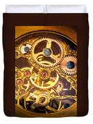 Gold Pocket Watch Gears Duvet Cover by Garry Gay
