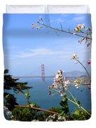 Golden Gate Bridge And Wildflowers Duvet Cover by Carol Groenen