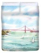 Golden Gate Bridge View From Point Bonita Duvet Cover by Irina Sztukowski