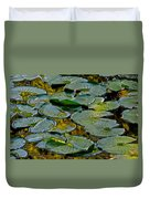 Golden Lilly Pads Duvet Cover by Frozen in Time Fine Art Photography