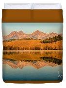 Golden Mountains  Reflection Duvet Cover by Robert Bales