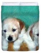Golden Puppies Duvet Cover by Michelle Calkins