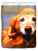 Golden Retriever - Painterly Duvet Cover by Wingsdomain Art and Photography