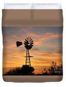 Golden Windmill Silhouette Duvet Cover by Robert D  Brozek
