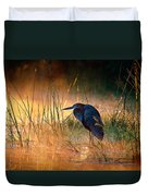 Goliath Heron With Sunrise Over Misty River Duvet Cover by Johan Swanepoel