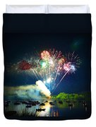 Grand Finale Over The Lake Duvet Cover by Sandi OReilly