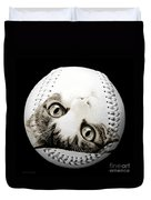 Grand Kitty Cuteness Baseball Square B W Duvet Cover by Andee Design