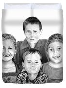 Grandchildren Portrait Duvet Cover by Peter Piatt