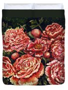 Grandma Lights Peonies Duvet Cover by Linda Simon