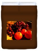 Grapes And Tangerines Duvet Cover by Greg Allore