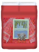 Grapes At The Window Duvet Cover by Ditz