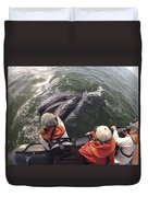 Gray Whale Calf And Tourists Baja Duvet Cover by Flip Nicklin
