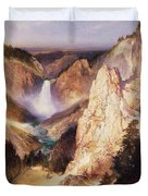 Great Falls Of Yellowstone Duvet Cover by Thomas Moran