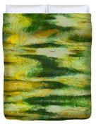 Green And Yellow Abstract Duvet Cover by Dan Sproul
