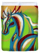 Green Horse Duvet Cover by Genevieve Esson