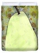 Green Pear Art With Swirls Duvet Cover by Blenda Studio