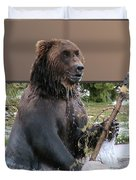 Grizzly Bear 6 Out of Bounds Duvet Cover by Thomas Woolworth