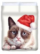 Grumpy Cat as Santa Duvet Cover by Olga Shvartsur