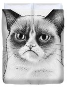 Grumpy Cat Portrait Duvet Cover by Olga Shvartsur