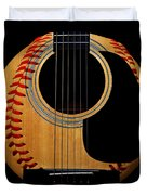 Guitar Baseball Square Duvet Cover by Andee Design