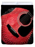 Guitar Strawberry Baseball Duvet Cover by Andee Design