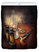 Gun - The Adventures Code  Duvet Cover by Mike Savad