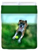 Gus The Rescue Dog Duvet Cover by Colleen Taylor