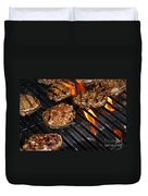Hamburgers On Barbeque Duvet Cover by Elena Elisseeva