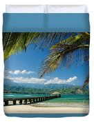 Hanalei Pier and beach Duvet Cover by M Swiet Productions