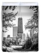 Hancock Building Through Trees Black And White Photo Duvet Cover by Paul Velgos