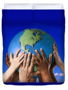 Hands On A Globe Duvet Cover by Don Hammond