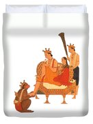 Hanuman Worshipping Rama Duvet Cover by Photo Researchers