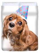 Happy Birthday Puppy Duvet Cover by Edward Fielding