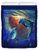 Happy Dolphins Duvet Cover by Marco Antonio Aguilar