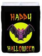 Happy Halloween Bat Duvet Cover by Amy Vangsgard