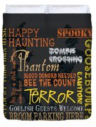 Happy Haunting Duvet Cover by Debbie DeWitt