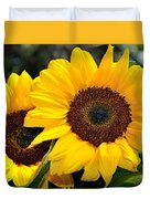 Happy Sunflowers Duvet Cover by Kaye Menner