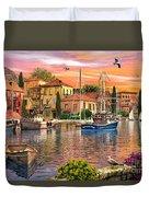 Harbour Sunset Duvet Cover by Dominic Davison