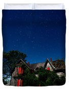 Haunted Farmhouse at Night Duvet Cover by Cale Best