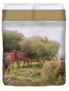 Haymaking Duvet Cover by Arthur Hopkins