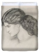 Head Of A Woman Duvet Cover by Dante Gabriel Charles Rossetti