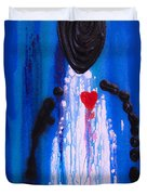 Heart and Soul - Angel Art Blue Painting Duvet Cover by Sharon Cummings