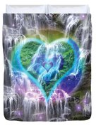 Heart Of Waterfalls Duvet Cover by Alixandra Mullins
