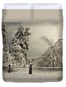 Heavy Laden Blizzard Duvet Cover by Lois Bryan