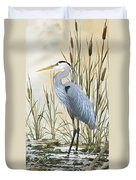 Heron and Cattails Duvet Cover by James Williamson