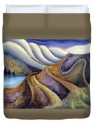 Highway With Fog Duvet Cover by Jen Norton