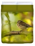 His Eye Is On The Sparrow Duvet Cover by Lois Bryan