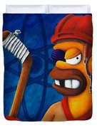 Hockey Homer Duvet Cover by Marlon Huynh